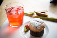 Rhubarb and ginger muffins Stock Photography