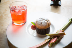 Rhubarb and ginger muffins Royalty Free Stock Image