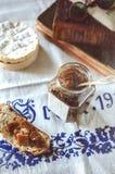 Rhubarb jam and cheese Stock Photos