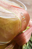 Rhubarb jam in glass jar Royalty Free Stock Photo