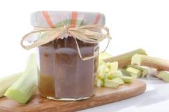 Rhubarb jam jar with fresh rhubarb Royalty Free Stock Photo