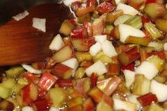 Rhubarb jam. Rhubarb, sugar and apple ready to make jam Stock Photos