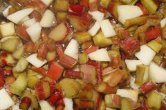Rhubarb jam. Rhubarb, sugar and apple ready to make jam Royalty Free Stock Images