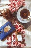 Rhubarb jam and tea Royalty Free Stock Image
