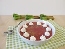 Rhubarb jelly dessert Stock Images