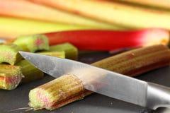 Rhubarb knife cutting Stock Photo