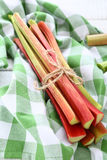 Rhubarb on a napkin Stock Photos