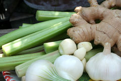 Rhubarb onion ginger and garlic. For chatni Stock Photos