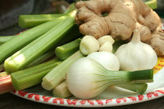Rhubarb onion ginger and garlic Stock Images