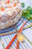 Rhubarb pie with meringue and almonds Royalty Free Stock Images
