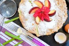 Rhubarb pie with nectarine on top stock photos