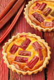Rhubarb & saffron cream tart Royalty Free Stock Image