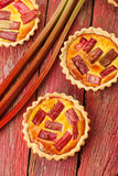 Rhubarb & saffron cream tart Royalty Free Stock Photography
