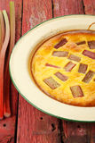 Rhubarb & saffron cream tart Stock Photo