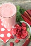 Rhubarb smoothie. Pink smoothie made with rhubarb Stock Image