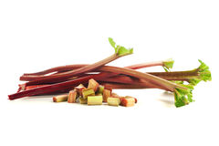 Rhubarb stalks and chops Royalty Free Stock Photo