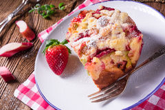 Rhubarb strawberry brioches Stock Images