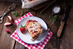 Rhubarb strawberry brioches Stock Photography