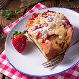 Rhubarb strawberry brioches Royalty Free Stock Photo