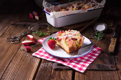 Rhubarb strawberry brioches Royalty Free Stock Photos