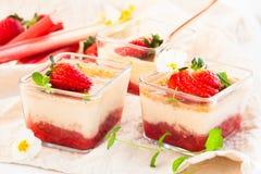 Rhubarb and strawberry dessert Stock Photography