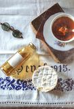 Rhubarb syrup and tea Stock Photo