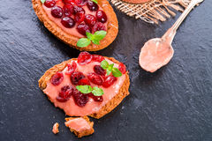 Rhubarb tartelette with cranberry Stock Images