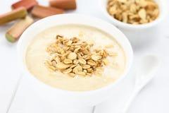 Rhubarb and Yogurt Dessert with Granola Stock Photo