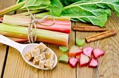 Rhubarbe avec du sucre et la cannelle sur le conseil Images libres de droits