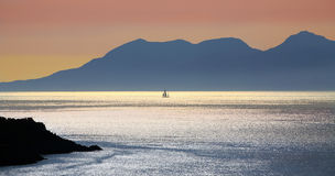 Rhum island from Morar, Scotland Stock Image