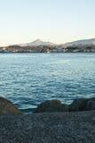 Rhune maravilloso del la de la montaña en puesta del sol por Océano Atlántico Fotos de archivo libres de regalías