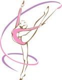Rhymic gimnastyczka z faborkiem ilustracja wektor