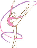 Rhymic gymnast with a ribbon. Vector drawing Royalty Free Stock Photography