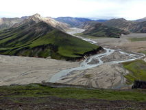 rhyolite βουνών της Ισλανδίας αλόγων περιοχής διάσημοι ισλανδικοί landmannalaugar βράχοι ηφαιστειακοί Στοκ Εικόνες