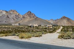 RHYOLITE GHOST TOWN. THE OLD HISTORIC MINING GHOST TOWN OF RHYOLITE, NYE COUNTY NEVADA Stock Image