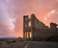 Rhyolite Ruins And Sunset Stock Photos
