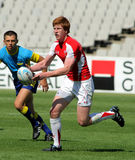 Rhys Patchell of Wales. Drives the ball during the match of Rugby7 European Championship between Wales and Ukraine at the Olympic Stadium in Barcelona, on July Stock Photo
