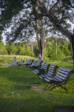 The rhythm of benches. In Suzdal Royalty Free Stock Image