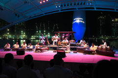 Rhythm in Bronze. Performance by Rhythm in Bronze, a Malaysian fusion modern gamelan orchestra, in Santai, meaning Relax, at the Singapore Festival of Arts, at Royalty Free Stock Image