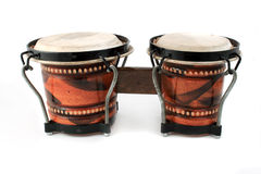 Rhythm instruments. Rhythm percussion instruments bongo drums on a white background Stock Image