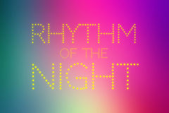 RHYTHM OF THE NIGHT text on colorful gradient background Royalty Free Stock Photo