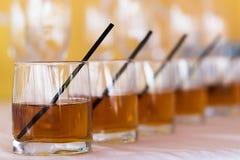 Rhythm raw of whisky cola glasses Royalty Free Stock Photo