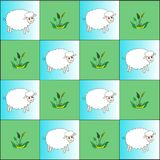 rhythm of sheep and plants vector illustration