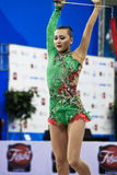 Rhythmic gymnast Anna Alyabyeva Pesaro WC 2010. During the rhythmic gymnastic World Cup 2010, on August 28th, Senior Anna Alyabyeva of Kazakhstan performs with stock photo