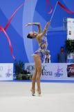 Rhythmic gymnast Daria Dmitrieva Pesaro WC 2010. During the rhythmic gymnastic World Cup 2010, on August 28th, Senior Daria Dmitrieva of Russia performs with royalty free stock photos