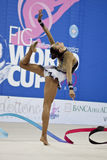 rhythmic gymnast Evgeniya Kanaeva WC Pesaro 2010 Royalty Free Stock Photo