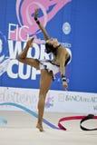 Rhythmic gymnast Evgeniya Kanaeva WC Pesaro 2010. During the rhythmic gymnastic World Cup 2010, on August 28th, Senior Evgeniya Kanaeva of Russia performs with royalty free stock photo