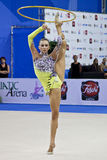 Rhythmic gymnast Liubou Charkashyna Pesaro WC 2010 Stock Photos