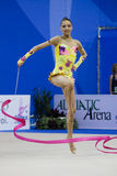 Rhythmic gymnast T. Stoyanova Pesaro WC '10. During the rhythmic gymnastic World Cup 2010, on August 28th, Senior Tsvetelina Stoyanova of Bulgaria performs with Royalty Free Stock Images