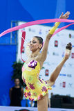 Rhythmic gymnast T. Stoyanova Pesaro WC '10. During the rhythmic gymnastic World Cup 2010, on August 28th, Senior Tsvetelina Stoyanova of Bulgaria performs with Stock Photos